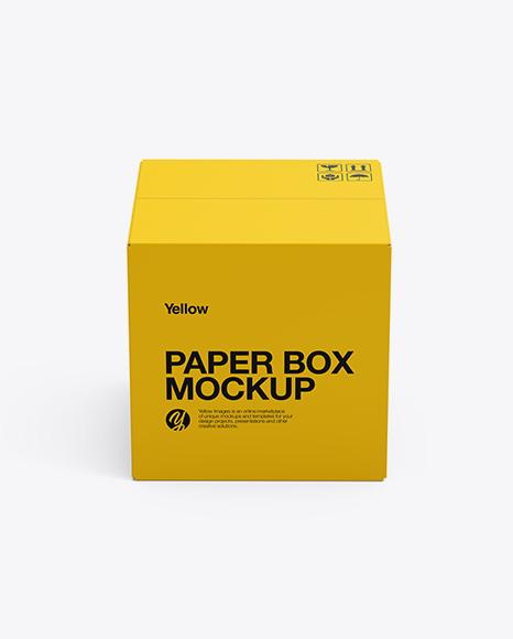 Paper Box Mockup - Side View (High-Angle Shot)