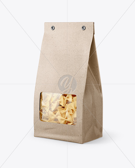 Kraft Bag with Farfalle Pasta Mockup - Half Side View