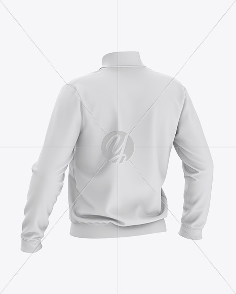 Men's Zipped Bomber Jacket Mockup - Back Half-Side View - Baseball Jacket