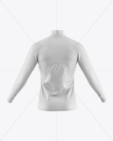 Men's Cycling Jersey With Long Sleeve Mockup - Back View