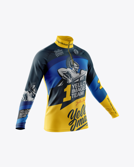 Download Free Men's Cycling Jersey With Long Sleeve Mockup - Half Side View PSD Template