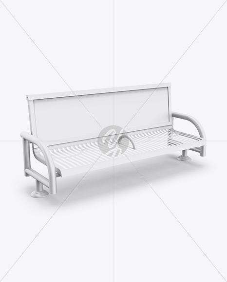 Street Bench Advertising Mockup - Half Side View (High-Angle Shot)