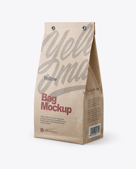 Kraft Bag Mockup - Half Side View