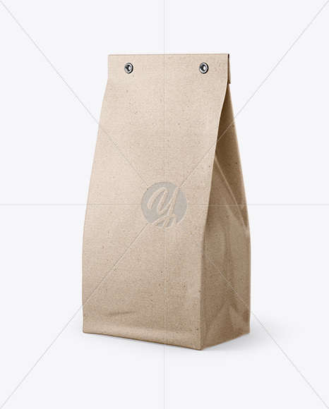 Download Kraft Bag Mockup Half Side View In Bag Sack Mockups On Yellow Images Object Mockups PSD Mockup Templates