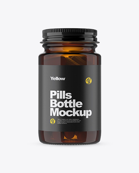 Download Free Amber Glass Pills Bottle Mockup PSD Template