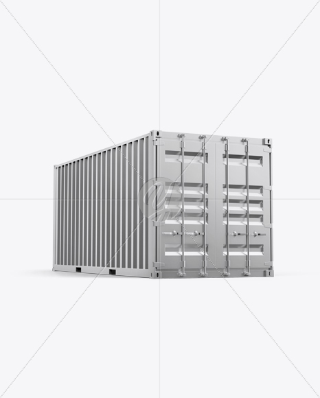 20F Metallic Shipping Container Mockup - Half Side View