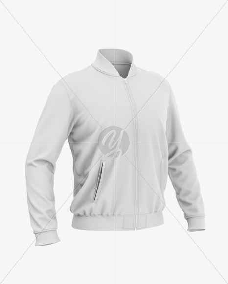 Men's Zipped Bomber Jacket Mockup - Front Half-Side View - Baseball Jacket