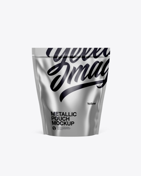 Download Free Metallic Stand Up Pouch Mockup - Front View PSD Template