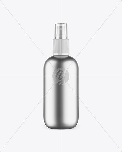 Metallic Cosmetic Bottle w/ Transparent Cap Mockup