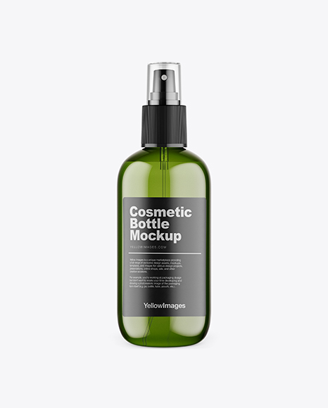 Download Free Green Plastic Cosmetic Bottle w/ Transparent Cap Mockup PSD Template