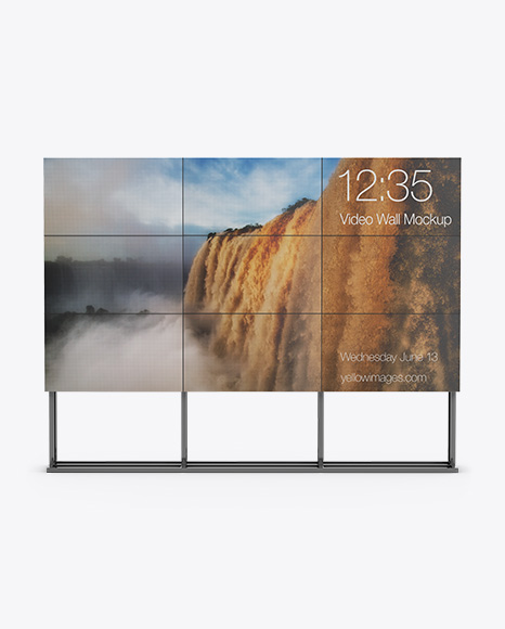 LCD Video Wall Stand Mockup - Front View