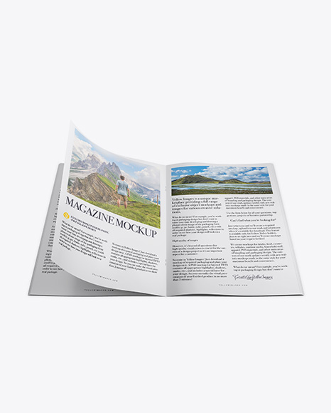Download Free Opened Magazine Mockup - Top View PSD Template