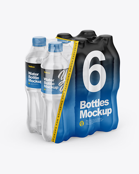 Transparent Shrink Pack with 6 Plastic Bottles Mockup - Half Side View