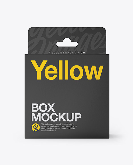 Download Glossy Paper Box with Hang Tab Mockup - Front View Object Mockups