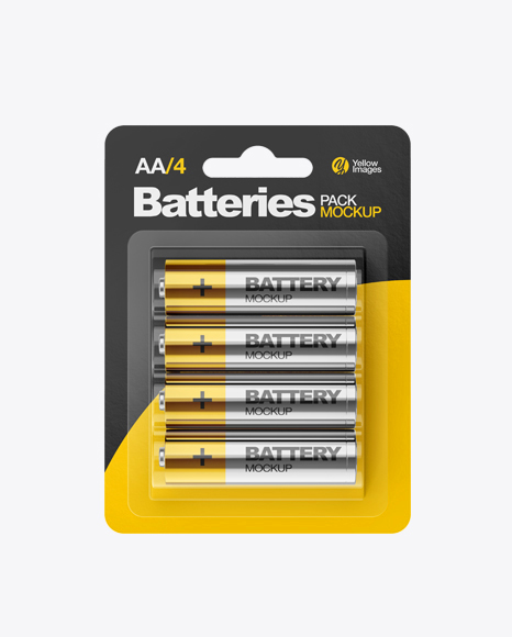Download 4 Pack Metallic Battery AA Mockup Object Mockups