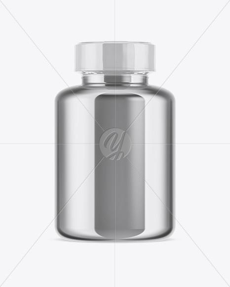 Metallic Pills Bottle With Shrink Sleeve Mockup