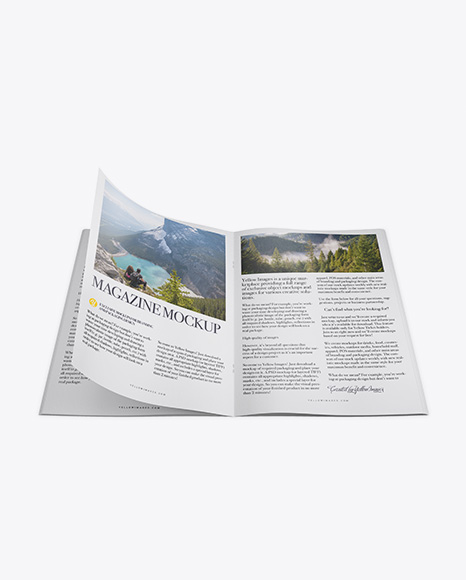 Download Free Opened Textured Magazine Mockup - Top View PSD Template
