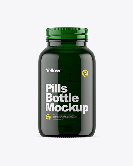 Download Free Dark Green Glass Bottle With Pills Mockup PSD Template