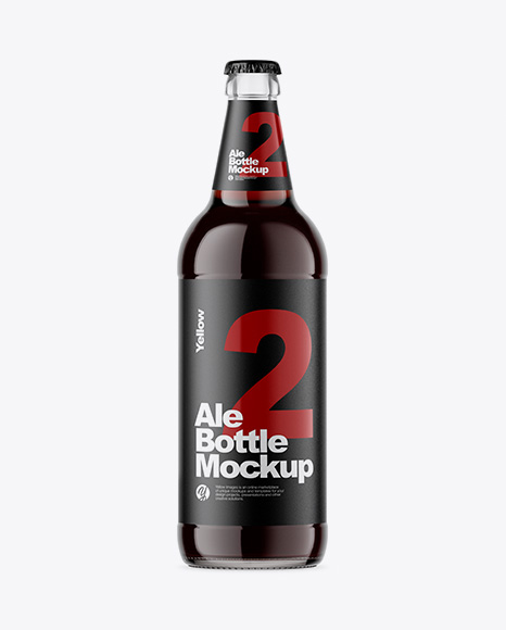 Download Free Clear Glass Bottle With Brown Ale Mockup PSD Template