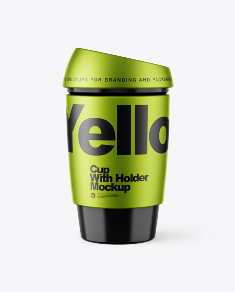 Download Free Glossy Cup with Metallized Holder Mockup PSD Template