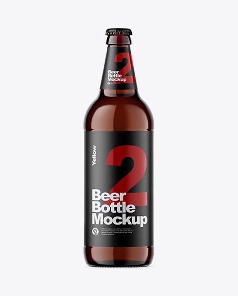 Download Amber Glass Bottle With Lager Beer Mockup Object Mockups