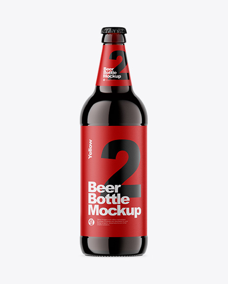 Download Free Amber Glass Bottle With Dark Beer Mockup PSD Template