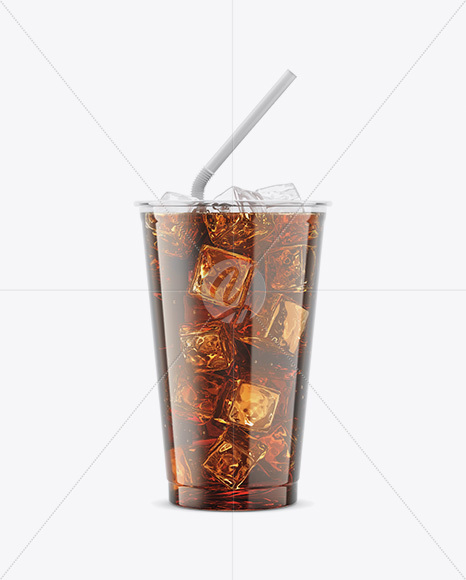 Transparent Plastic Soda Cup With Ice Mockup