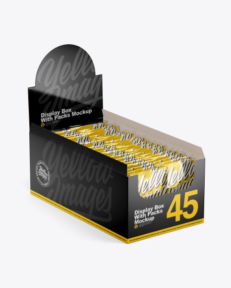 Download 16 Snack Bars Metallic Display Box Mockup Half Side View High Angle Shot PSD - Free PSD Mockup Templates