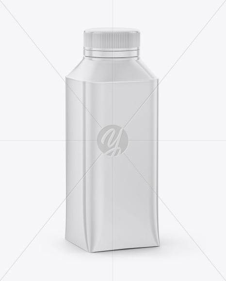 Milk Bottle Mockup - Half Side View