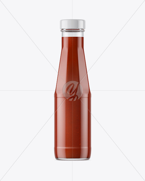 Clear Glass Bottle with Ketchup Sauce Mockup