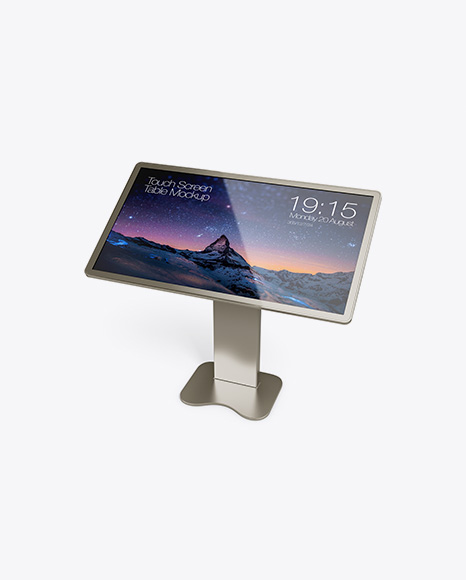 Metallic Touch Screen Display Table Mockup