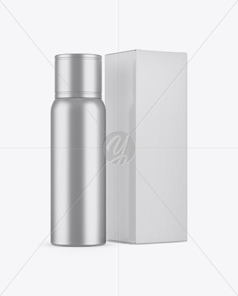 Metallic Plastic Bottle W Paper Box Mockup In Bottle Mockups On