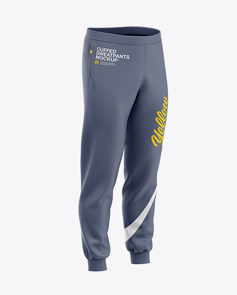 Men's Cuffed Sweatpants Mockup - Front Right Half-Side
