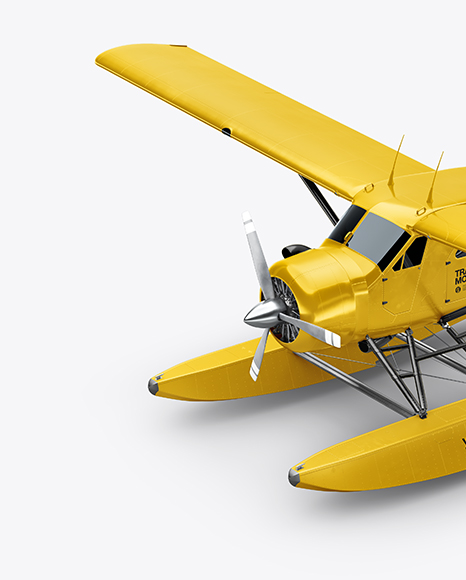 Seaplane Mockup - Half Side View (High-Angle Shot)