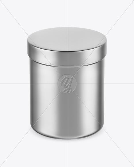 Metallic Jar Mockup - Front View (High-Angle Shot)
