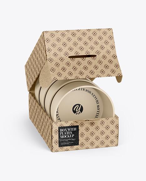 Kraft Paper Box with Plates Mockup