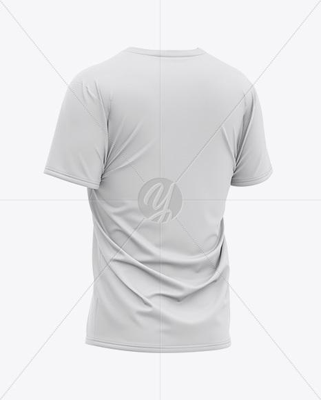 Men's Loose Fit V-Neck Graphic T-Shirt - Back Half-Side View