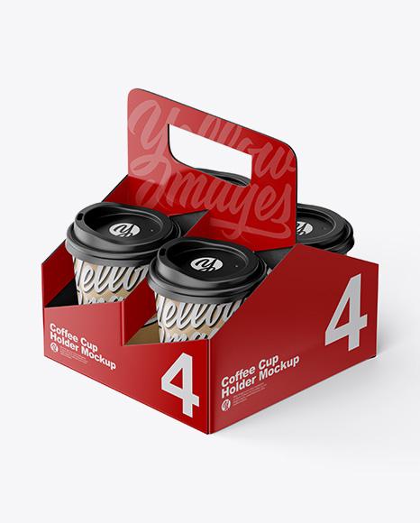 Matte Coffee Cup Holder W/ Kraft Cups Mockup