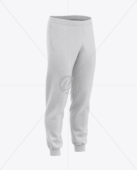 Download Mens Cuffed Sweatpants Mockup Front Left Half Side View Yellow Images