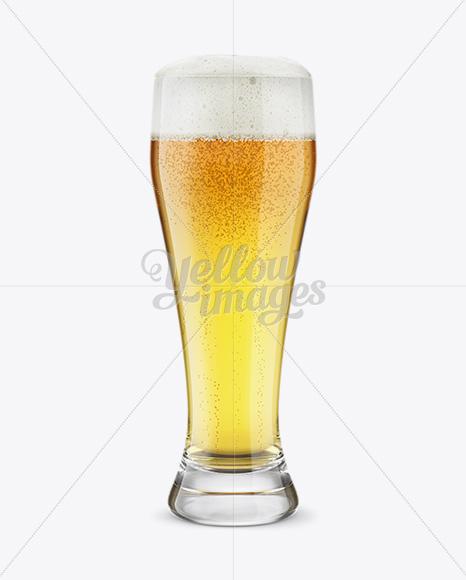 Weizen Glass with Pilsner Beer Mockup