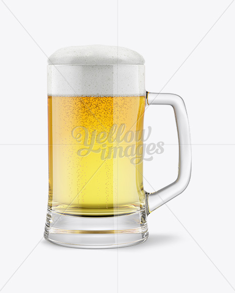 Tankard Glass Mug with Pilsner Beer Mockup