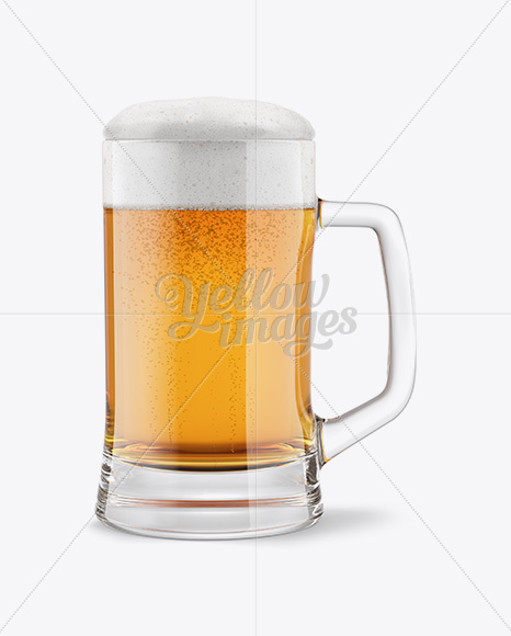 Tankard Glass Mug with Lager Beer Mockup