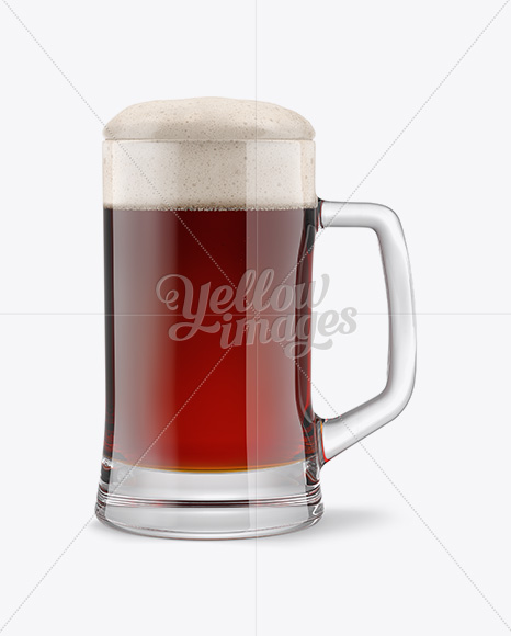 Tankard Glass Mug with Red Ale Beer Mockup