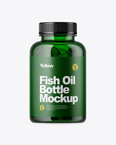 Green Bottle with Fish Oil Mockup