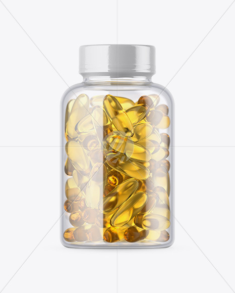 Clear Bottle with Fish Oil Mockup