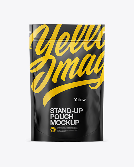 Download Glossy Stand Up Pouch W Zipper Mockup In Pouch Mockups On Yellow Images Object Mockups