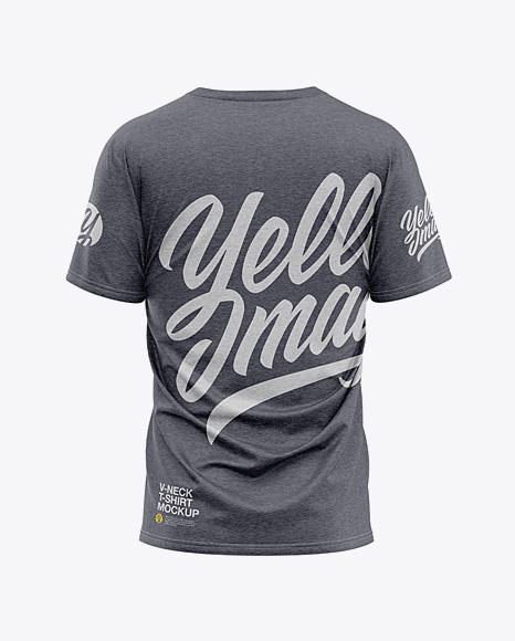 Men's Heather Loose Fit V-Neck T-Shirt – Back View