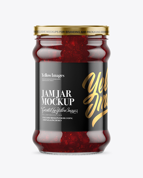 Download Clear Glass Jar With Cranberry Jam Mockup In Jar Mockups On Yellow Images Object Mockups PSD Mockup Templates