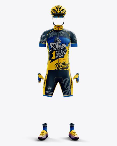 Full Men's Cycling Kit Mockup - Front View