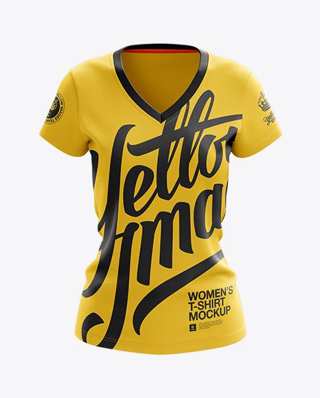 Women's V-Neck T-Shirt Mockup - Front View